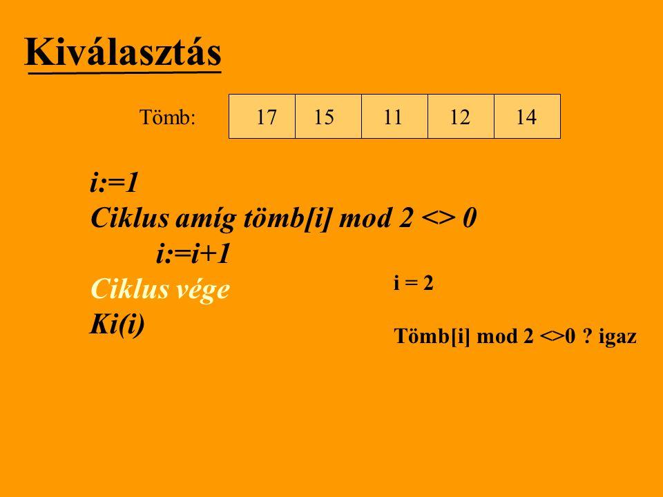 Kiválasztás i:=1 Ciklus amíg tömb[i] mod 2 <> 0 i:=i+1